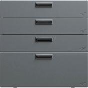 "Hercke Stainless Steel Quadro Storage Drawer QSD302430-S73 - 30"" x 24"" x 30"" Satin Black/Silver Coat"