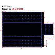 Xtarps, MT-LB15-B2427, Flatbed Truck Tarp, Light Weight Lumber Tarp w/ 8' Drop, 24'W x 27'L, Black