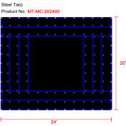 Xtarps, MT-MC18-B2024, Heavy Duty Flatbed Truck Tarp, Machinery Tarp, 20'W x 24'L, Black