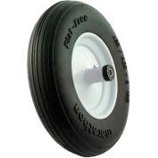 """Marathon 00001 4.80/4.00-8 Flat Free Wheelbarrow Tire Ribbed Tread - 6"""" Centered - 5/8"""" Bearings"""
