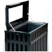 "Rectangular-Open Top Trash Can, Black, 35 gal, 16""W x 29.5""L x 32.5""H"