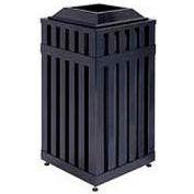 "Square-Open Top Trash Can, Black, 16 gal, 16""Sq x 32.5""H"