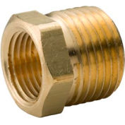 "Brass Yellow Barstock 1/2"" X 3/8"" Hex Bushing Npt Male X Female - Pkg Qty 50"