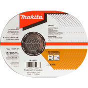"Makita® INOX Thin Cut-Off Wheel, 60 Grit, Type 1, 4-1/2""Dia x 1/25""T x 7/8""Cntr Hole Dia, 10/Pk"