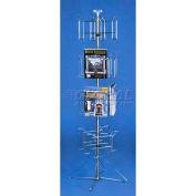 Marv-O-Lus Floor Spinner Literature Rack, 16 Pockets, Chrome, 164-4L6