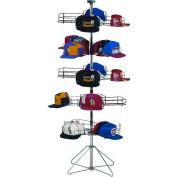 Marv-O-Lus Caparama Floor Spinner Rack for Caps - Up to 240 - 5 Step Design, Black/Chrome, 164-5C