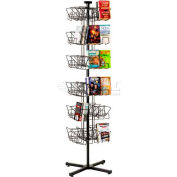 Marv-O-Lus Paperback Floor Rack, 48 Pockets, Black, 171-2V