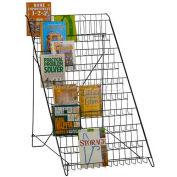 Marv-O-Lus Open Shelf Floor Literature Rack, 10 Step Design, Black, 64