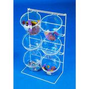 Marv-O-Lus 6 Jar Counter Rack, 2/Cs, 2 Step Design, White, 72