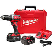 "Milwaukee 2607-22 M18 Compact 1/2"" Hammer Drill/Driver Kit 3.0Ah"