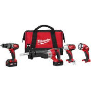 Milwaukee® 2696-24 M18™ Cordless Li-Ion 4-Tool Combo Kit, (2) 3.0Ah Batt, Charger, Bag