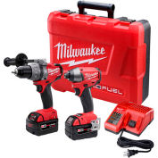 Milwaukee 2897-22 M18 FUEL Li-Ion Cordless Brushless Hammer Drill/Impact Driver 2-Tool Combo Kit
