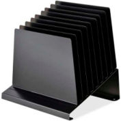 "MMF Industries Slanted Vertical Organizer with 8 Compartments 12""H x 11""W x 9-1/3""D, Black"
