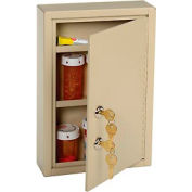 "STEELMASTER® Medical Security Cabinet, Double Key Locks, 8""W x 2-5/8""D x 12-1/8""H, Sand"