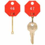 MMF Self-Locking Octagonal Key Tags 5312726BC07 - Tags 141-160, Red