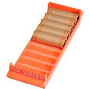 "MMF 212082516 Porta-Count Coin Tray, For $100 Quarters, 3-3/8"" x 11-1/2"" x 1-5/8, Orange"