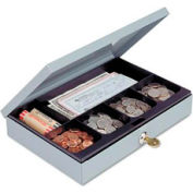 "MMF SteelMaster Low Profile Cash Box 221618001 Security Lock, 6-Compartment, 12""W x 8""D x 2""H, Gray"