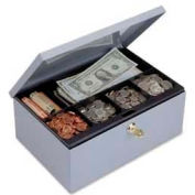 Steelmaster™ Cash Box with Security Lock, 6-Compartment, Gray