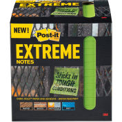 "Post-it® Extreme Notes Water-Resistant Self-Stick Notes, Green, 3"" x 3"", 45 Sheets, 12/Pack"