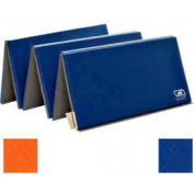 "Standard Tumbling Mat 1-3/8""THK x 60""W x 120""L, 2 Ends Hook & Loop, Orange/Royal"
