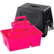 Little Giant DuraTote Box & Step Stool Combo DTSSHOTPINK, Impact-Rest. Plastic, PK-Tote, BLK-Stool - Pkg Qty 2