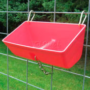 Little Giant Fence Feeder W/Metal Clips & Chain Ff16red, Polyethylene, 7.75 Qt., Red - Pkg Qty 6