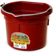 Little Giant Flat Back Bucket P8fbburgundy, Duraflex Plastic, 8 Qt., Burgundy - Pkg Qty 24