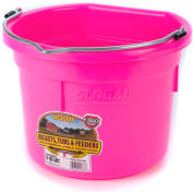 Little Giant Flat Back Bucket P8fbhotpink, Duraflex Plastic, 8 Qt., Hot Pink - Pkg Qty 24