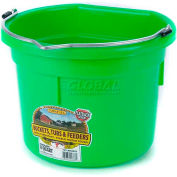Little Giant Flat Back Bucket P8fblimegreen, Duraflex Plastic, 8 Qt., Lime - Pkg Qty 24