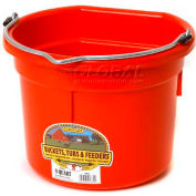 Little Giant Flat Back Bucket P8fbred, Duraflex Plastic, 8 Qt., Red - Pkg Qty 24