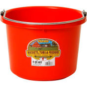 LIttle Giant Round Bucket P8RED, Duraflex Plastic, 8 Qt., Red