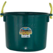 Little Giant Muck Tub W/Rope Handles Psb40green, Polyethylene & Poly Rope, 40 Qt., Green - Pkg Qty 6