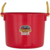 Little Giant PSB40RED-Muck Bucket W/Rope Handles- Polyethylene & Poly Rope, 40 Qt., Red - Pkg Qty 6