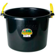 Little Giant Bushel Muck Bucket W/Rope Handles, Polyethylene & Poly Rope, 70 Qt., Blk - Pkg Qty 6