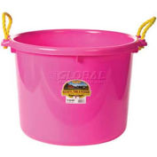 Little Giant Muck Tub W/Rope Handles, Polyethylene & Poly Rope, 70 Qt., Hot Pink - Pkg Qty 6
