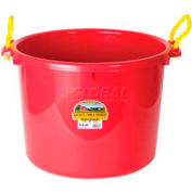 Little Giant Muck Tub W/Rope Handles Psb70red, Polyethylene & Poly Rope, 70 Qt., Red - Pkg Qty 6