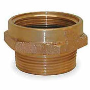 Fire Hose Female/Male Hose Nipple - 2 In. NPT Female X 1-1/2 In. NH Male - Brass