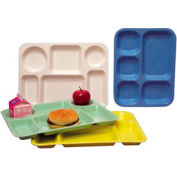 "Molded Fiberglass 5 Compartment School Tray 363008 -13-7/8""L x 10-3/4""W, Pkg Qty 12, Blue - Pkg Qty 12"