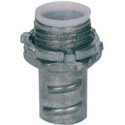 """Morris Products 15077, Screw-In Connector Insulated Throat for Greenfield/Flex Conduit, Zinc , 3/8"""""""