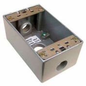 """Morris Products 36000, Weatherproof Box, 1 Gang 18.3 Cubic Inch , 3 Outlet Hole .50"""" Gray No Lugs"""