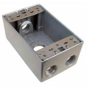 """Morris Products 36028, Weatherproof Box, 1 Gang 18.3 Cubic Inch , 4 Outlet Hole .50"""" Gray No Lugs"""