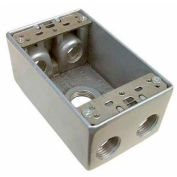 """Morris Products 36060, Weatherproof Box, 1 Gang 18.3 Cubic Inch , 5 Outlet Hole .75"""" Gray"""