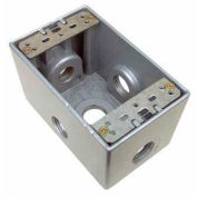 """Morris Products 36140, Weatherproof Box, 1 Gang Deep 23.8 Cubic Inch , 5 Outlet Hole 1"""" Gray"""