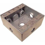 "Morris Products 36290, Weatherproof Box, 2 Gang 30.5 Cubic Inch , 6 Outlet Hole .50"" Gray"
