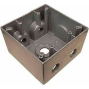 """Morris Products 36390, Weatherproof Box, 2 Gang Deep 37 Cubic Inch , 5 Outlet Hole 1"""" Gray"""