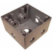 """Morris Products 36400, Weatherproof Box, 2 Gang Deep 37 Cubic Inch , 7 Outlet Hole .50"""" Gray"""