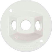 """Morris Products 36842, 4"""" Round Weatherproof Covers - Three Hole 1/2"""" White"""