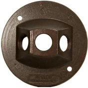 """Morris Products 36844, 4"""" Round Weatherproof Covers - Three Hole 1/2"""" Bronze"""