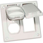 Morris Products 37222, Two Gang Weatherproof Covers - 1 GFCI & 1 Duplex Receptacle White