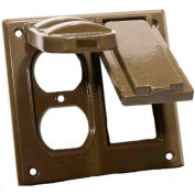 Morris Products 37224, Two Gang Weatherproof Covers - 1 GFCI & 1 Duplex Receptacle Bronze